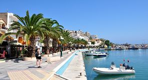 City Sitia and promenade, island Crete, Greece, Europe Royalty Free Stock Images