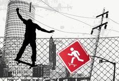 City Skater Sign. Vector Illustration Stock Image