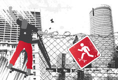 City Skater Sign. Vector Illustration Stock Images