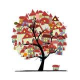 City sketch, art tree concept for your design Stock Photos