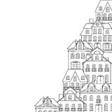 City sketch, houses background for your design Stock Photo