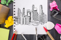 City sketch on paper Royalty Free Stock Image