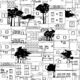 City sketch. Seamless pattern design with city sketch in black and white Stock Photo