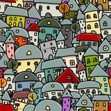 City sketch, seamless pattern for your design Stock Photos