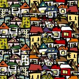 City sketch, seamless pattern for your design Royalty Free Stock Photo