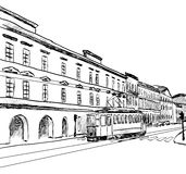 City sketch. Sketch of the city with tram. Vector illustration Stock Photo