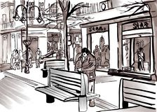 City sketch vector by pedestrian street life big town. Royalty Free Stock Images