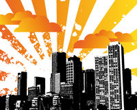 City Sky. Grunge Orange City Sky Illustration Royalty Free Stock Photos