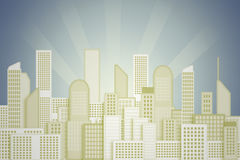 City and sky, painted background Stock Photo