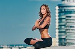 City sky Yoga meditation Stock Photography