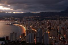 City Skyline. The skyline of a dowtown  and its beachfront at dawn Royalty Free Stock Photos