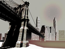 City skyline. A city skyline, like Manhattan with Brooklyn bridge, in black and white Stock Photos