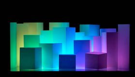 City skyline. Colored boxes on a black background making an abstract city skyline Royalty Free Stock Photos