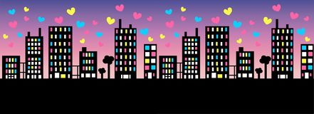 City skyline. With colorful hearts Stock Photos