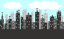 City skyline. Illustration of a city skyline in grey and blue colours Royalty Free Stock Photos