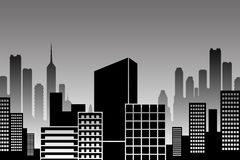 City skyline. Skyline of a modern city in black and white (copyspace on the central black building Royalty Free Stock Photography