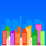City skyline. In shiny colors (copy space provided to the top of the image Stock Photos