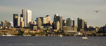City Skyline Pontoon Plane Lake Union Seattle WA Stock Photo