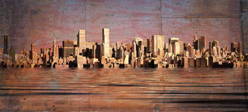 City skyline. With grunge affects Stock Images