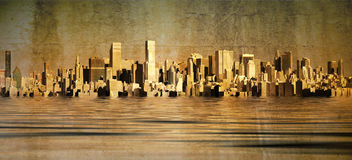 City skyline. With grunge affects Royalty Free Stock Photo