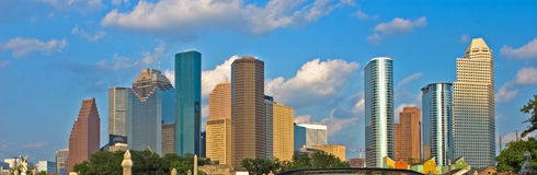 City skyline. Houston city skyline in broad daylight with blue skies and some clouds Royalty Free Stock Photo