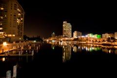City Skyline. Beautiful Miami Beach Skyline Illuminated Royalty Free Stock Images