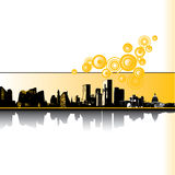 City Skyline. Yellow, black and white themed city skyline. Also available in vector format. Room for copy
