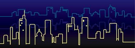 City skyline. Night panorama of big city Royalty Free Stock Photo