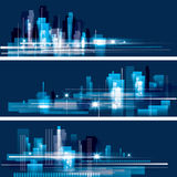 City Skyline. Abstract modern city skyline at night Royalty Free Stock Image