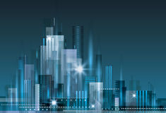 City Skyline. Abstract modern city skyline at night Stock Images