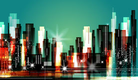 City Skyline. Abstract modern city skyline at night Royalty Free Stock Photography