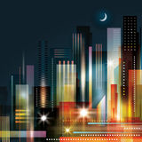 City Skyline. Abstract modern city skyline at night Stock Image