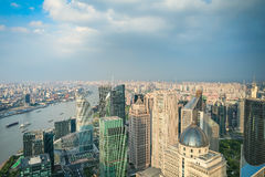 City skyline aerial view of shanghai Royalty Free Stock Image