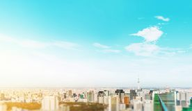 City skyline aerial view in tokyo, japan with miniature lens tilt shift blur effect. Business and culture concept - panoramic modern city skyline bird eye aerial stock images