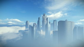 City skyline against blue sky, flight over clouds stock illustration
