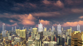 City skyline against sunset cloudy sky. Abstract big city downtown with modern high rise buildings skyscrapers against scenic cloudy sky at sunset or sunrise. 3D Royalty Free Stock Images