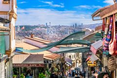 City skyline of Ankara Turkey and local shops. On summer day Royalty Free Stock Photo