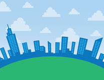 City Skyline Arc. Daytime city skyline arc with clouds Royalty Free Stock Images