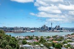 City skyline, Auckland port, New Zealand stock photos