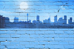 City Skyline Background. A graffiti type background of a city skyline with seagulls and brick wall texture royalty free stock photos
