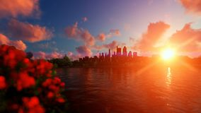 City skyline with beautiful lake reflections against sunset stock footage