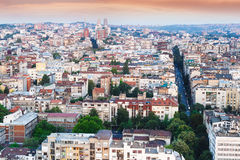 City skyline Belgrade, Serbia, aerial view. Sunset time . Architectural diversity in old Belgrade stock photography