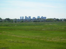 City Skyline from Belle Isle Park. View of the downtown Boston skyline from the Belle Isle Reservation Stock Image