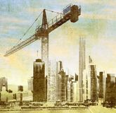 City skyline with big crane Stock Photos