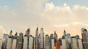 City Skyline. A big generic city under a moody green sky. 3D rendered Illustration Stock Photography