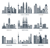 City skyline black icons set Royalty Free Stock Photo