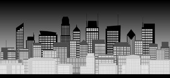 City skyline in black and white Royalty Free Stock Photography