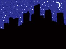 City Skyline During Blackout. A city skyline at night during a power blackout with room for copy Stock Images
