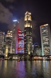 City skyline at boat Quay Singapore royalty free stock photography