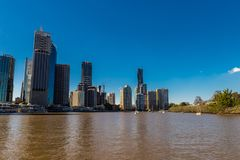 City skyline with buildings in Australia, Melbourne. Background of a cityscape over blue sky in the day stock images